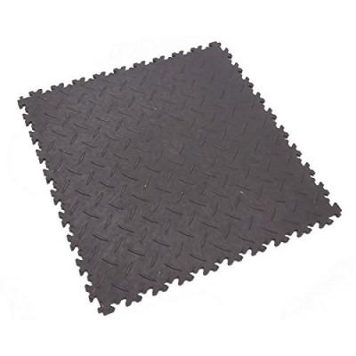 selbstliegende fortelock garagenboden fliesen aus recycling pvc mit riffelblech oberfl che. Black Bedroom Furniture Sets. Home Design Ideas